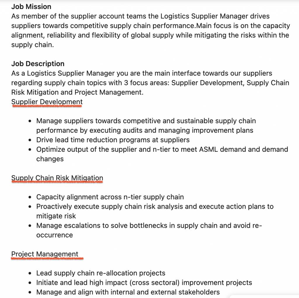 ASML Manufacturing - Logistics Supplier Specialist